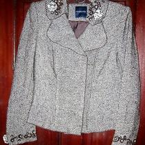 Magaschoni Collection M Blazer Jacket Tweed Beaded Embroidered Fitted Brown Tan Photo