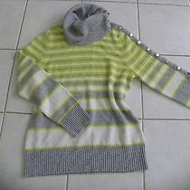 Magaschoni gray&green Limone 100% Cashmere Sweater Striped Szxl /l Photo