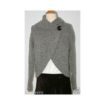 Magaschoni Gray Open Front Cardigan With Shawl Collar and Offset Button Sz M Photo