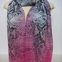 Magaschoni Hot Pink Multi Silk Cashmere Blend Scarf Shawl  Photo