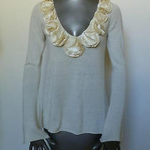 Magaschoni Ivory Sweater Top Cashmere Cream Ls Nwt Xs         Photo