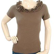 Magaschoni Knits - Brown Cashmere Knit Ruffle Top Photo