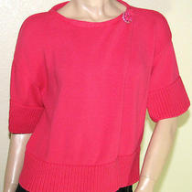 Magaschoni Large Coral Pink Wrap Cardigan Shrug Sweater W/ Brooch Closure Photo
