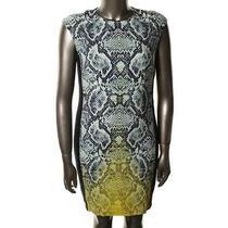 Magaschoni New Navy Silk Cap Sleeves Snake Print Wear to Work Dress 2 Bhfo Photo