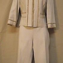 Magaschoni Nwt Beige White Tweed Fringe Silk Lined Cropped Pants Suit Sz 6 8 Photo
