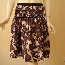 Magaschoni Off White and Purple Floral Print Full Silk Skirt 2 Photo
