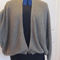 Magaschoni Open Knit Cardigan Sweater Size M - L Olive Green Linen Pre-Owned   Photo