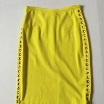 Magaschoni Pencil Skirt Cutouts Womens Size S Small Yellow Green V Photo