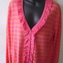 Magaschoni  Pink Coral Cotton Ruffled Cardigan Sweater Nwt Xl 268 Photo