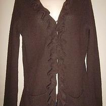 Magaschoni Ruffled Cardigan Sweater 100% Cashmere Lightweight Rib Knit Brown M Photo