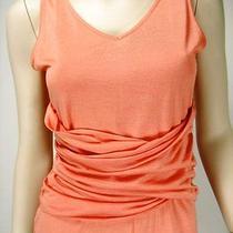 Magaschoni Silk & Cashmere Light Orange Sleeveless Ruched Top Sz S New 174 Photo