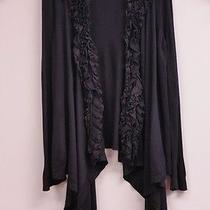 Magaschoni Size L Black Beautiful Ruffle Neckline Open Front Cardigan Sweater Photo