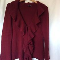 Magaschoni Solid Red Cashmere Cardigan S Photo