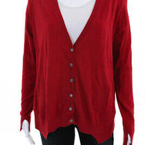 Magaschoni Womens Button Up Cardigan Sweater Top Red Wool Cotton Size Small Photo