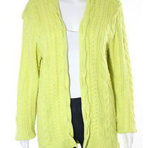 Magaschoni Yellow Cable Knit Cotton Cashmere Long Sleeve Open Front Sweater Sz L Photo