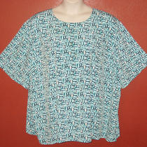 Maggie Barnes 5x 34/36 Aqua Blue Black White Geometric Retro S/s Tunic Shirt Top Photo