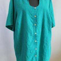 Maggie Barnes Aqua Keyhole Neckline Linen Blend Short Sleeve Blouse Shirt Sz16w Photo