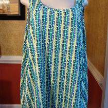 Maggie Barnes Blue/green/white Fancy Print No Sleeve Stretch Knit Top-3x  Photo