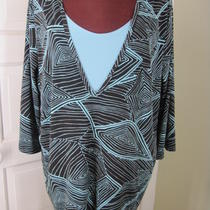 Maggie Barnes Brown Aqua Blue Faux Twinset Jersey Geometric Shirt 1x Photo