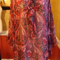 Maggie Barnes Fancy Maroon Paisley Print Blouse-1x Photo