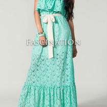 Maggie May Vintage Inspired Mint/aqua Lace Strapless Maxi Dress Chelsea Verde L Photo