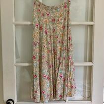 Maggy London Blush Pink 100% Rayon Floral Print Midi Skirt Women's Size 10 Photo