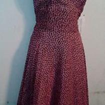 Maggy London Blush Pink Polka Dot 100% Silk Halter Dress 6 Nwt Photo