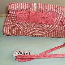 Magid Orange Natural Small Striped Straw Clutch Bag Fabric Lining 6