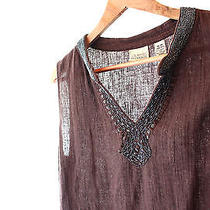 Mahogany Brown Linen-Cotton Tunic Beaded With Glass Classic Elements M Photo