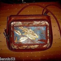 Maine Artist Upcycled Fossil Leather Handbag Purse Handpainted Fish Dragon Fly Photo