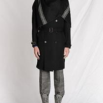 Maison Martin Margiela - Sz It/50- Blk 100% Wool Trench With  Blanket Scarf Photo