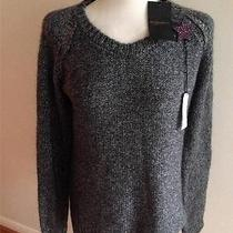 Maison Scotch Bnwt Grey Sparkle Lurex Knitted Star Brooch Jumper Size 3 Uk 14 Photo
