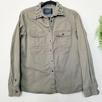 Maison Scotch & Soda Army Green Utility Button Down Studded Shirt Jacket 2 M 8 Photo