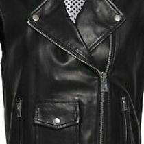 Maje Baldwin Belted Lambskin  Leather Moto Vest Size 36 Nwt Photo