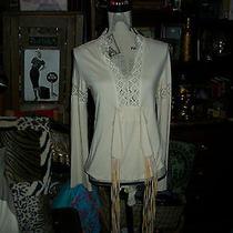 Maje Paris Splendid Crochet Antique Cream Blouse Size T2 Photo