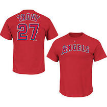 Majestic Athletic Men's Los Angeles Angels of Anaheim Michael Trout Player Name Photo
