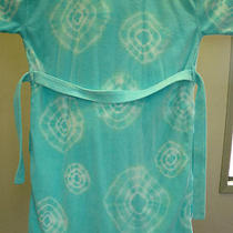 Majestic Luxury Spa Bath Robe Hand Tied & Dyed Circle Pattern  Aqua & White Photo
