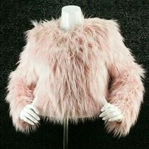 Majorelle Revolve Faux Fur Coat Womens Size Small Blush Pink Shag Nwt Msrp 328  Photo