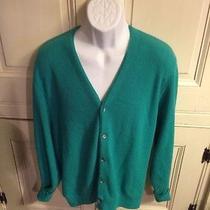 Make Offer Vintage Izod Lacoste Green Acrylic Knit Cardigan Sweater Vtg Sz Md Photo