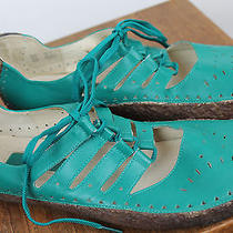 Makito - Anthropologie - Teal Leather Gum Sole Sandals 10  Photo