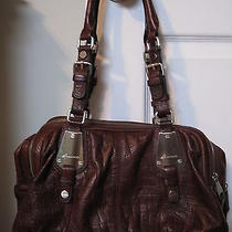 Makowsky Mahogany Brown Croc Satchel Tote Excellent Photo