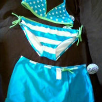Malibu Dream Girl 3 Piece Bikini Swimsuit Set - Aqua Blue /lime/white - Sz 16 Photo