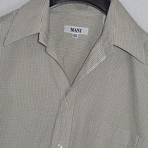 Mani by Giorgio Armani Tan Micro Windowpane Pattern Dress Shirt Sz. 15.5-34/35 Photo