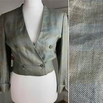 Mani Giorgio Armani Cropped Blazer Jacket Size It 40 Grey Blue Check Smart Photo
