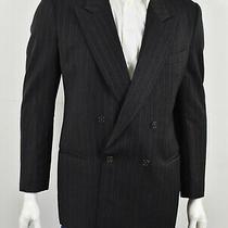 Mani X Giorgio Armani Charcoal Gray Striped Wool Double Breasted Blazer 42r Photo