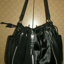 Mania Black Leather Suede Fur Hobo Handbag Purse Made in Italy Photo
