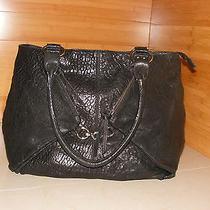 Mania Italian Black Leather Shoulder Bag  Hobo Tote With Silver Hardware Shopper Photo