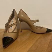 Manolo Blahnik 37 Nude Cap Toe Pumps Broken Heel Photo