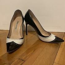 Manolo Blahnik 37 Patent Black Spectator Heel Photo