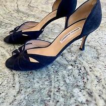Manolo Blahnik 40.5 Cut-Out Heel d'orsay Pump - Black Suede Photo